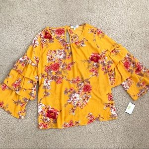 NWT Moa Moa Mustard Floral and Ruffle Sleeve Top